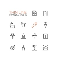 Home Road Repair - Thin Line Icons Set vector image