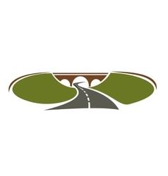Icon highway passes under bridge vector
