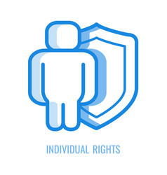 Individual rights line icon - abstract human vector