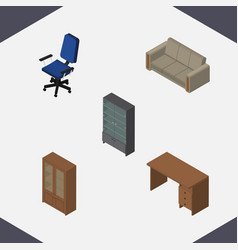 Isometric furniture set of table cabinet vector