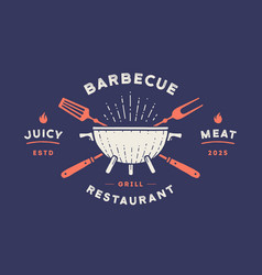 label or logo for restaurant logo with grill bbq vector image