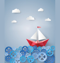 leadership concept with paper sailing boat float vector image