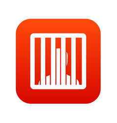 Man behind jail bars icon digital red vector