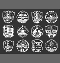 Marine lighthouse and beacon icons vector