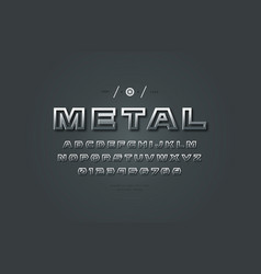 metal chrome hollow sans serif font vector image