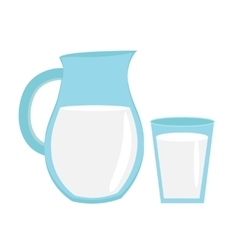 Milk in jug of glass with icon flat sty vector