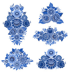 monochrome collection of fancy decorative flowers vector image vector image