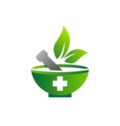 Mortar pestle logo symbol medicine pharmacy icon vector