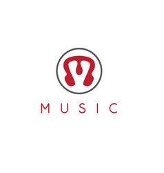 music icon in form letter m and headphones vector image