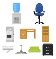 office furniture and interior set icons in cartoon vector image