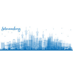 Outline johannesburg skyline with blue buildings vector