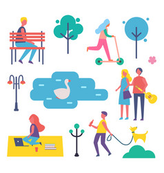 park and people in summer vector image