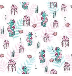 Pastel color jungle seamless tropical sea pattern vector