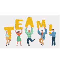 people holding in hands letters of word team vector image