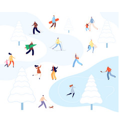people walking winter park cartoon couples vector image
