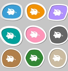 Piggy bank icon symbols Multicolored paper vector