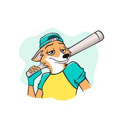 Portrait pleasant smiling fox baseball player vector