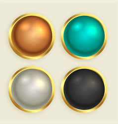 premium golden shiny buttons set vector image