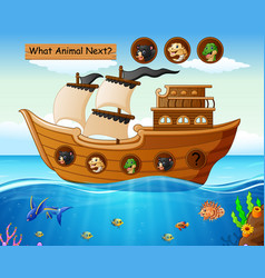 printwood boat sailing with wild animals theme vector image
