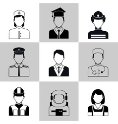 Professions avatar icons black set vector