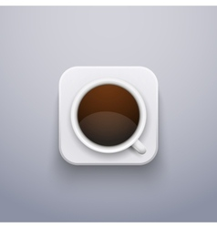 Realistic Coffee Cup Icon for Web or Application vector image