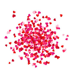 red and pink scatter paper hearts confetti vector image