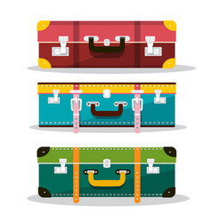 Retro suitcases suitcase icons isolated on white vector