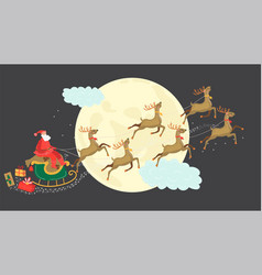 santa claus riding sleigh flying deers christmas vector image