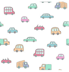 seamless pattern hand drawn cute cartoon cars vector image