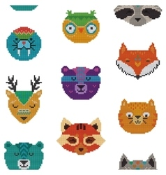 Seamless pattern with knitted animal portraits vector