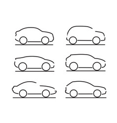 set black cars icons - stock vector image