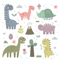 Set cute dinosaurs for children vector