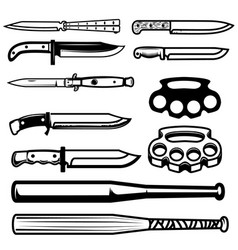 set gangsta weapon knives brass knuckle vector image