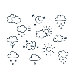 Set hand-drawn weather icons vector