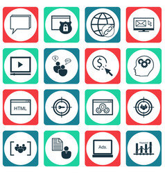 Set of 16 advertising icons includes coding vector