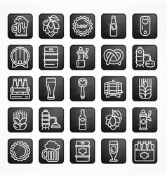 Set of linear beer icons vector