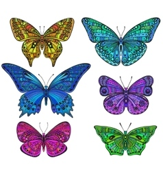 Set of six ornate doodle butterflies isolated on vector