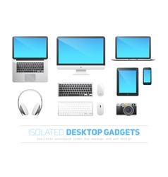 set realistic responsive desktop devices vector image