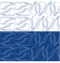 set seamless patterns with sneakers gumshoes vector image