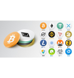 set top cryptocurrency tokens vector image