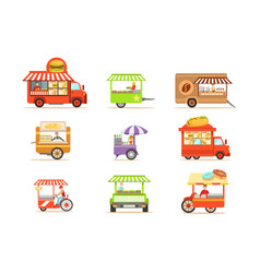 street food kiosk collection on wheels and without vector image