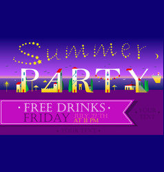 Summer party invitation cute houses font vector