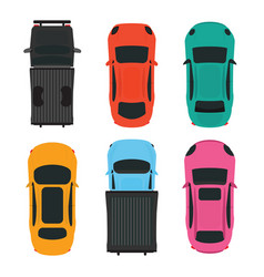 top view of colorful different car on white vector image