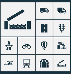 Transport icons set with chopper stoplight vector