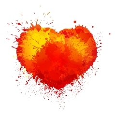 Trendy watercolor grunge paint splash heart vector