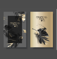 tropic alocasia leaf black and gold banner vector image