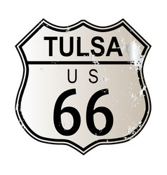 Tulsa route 66 highway sign vector
