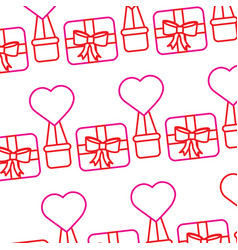 valentines day gift box air balloon heart pattern vector image