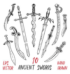 vintage collection with ancient swords vector image