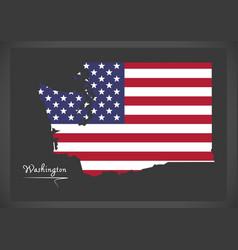 washington map with american national flag vector image
